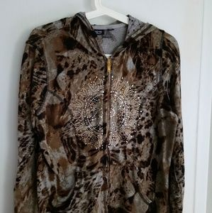 Panter printed hoodie with stones